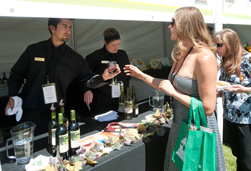 Guests visiting one of the partner booths