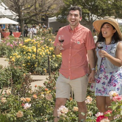 Reeza Demonteverde walks through the Rose Garden during the 2018 Cal Poly Pomona Tasting and Auction at Cal Poly Pomona
