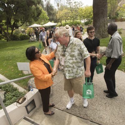 President Soraya Coley and husband Ron welcome guests to the 2018 Cal Poly Pomona Tasting and Auction at Cal Poly Pomona