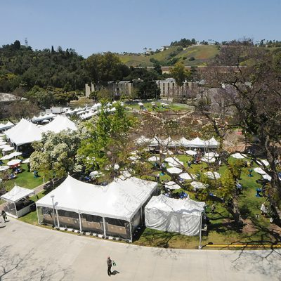 Aerial view of the Rose Garden during Tasting and Auction event